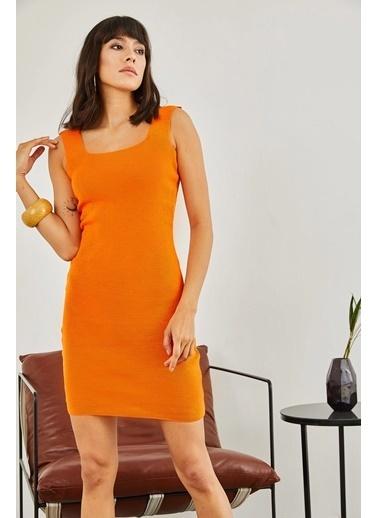 Sortee Kadın Kare Yaka Elbise Oranj